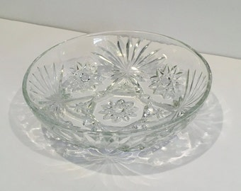 Vintage Star of David Bowl, Anchor Hocking , Prescut , Glass Bowl, Clear Glass Dish , Bowl , Serving Bowl , Vegetable Bowl