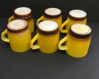Vintage fire King mugs, Fireking cup, yellow, brown, decor, stacking, retro, coffee, cottage, fire-King, mid century, country, cup, mug,