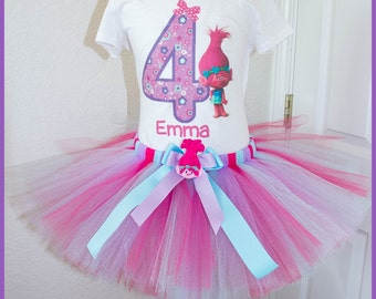 Super Cute Poppy Troll Birthday Tutu outfit Purple Pink and light blue