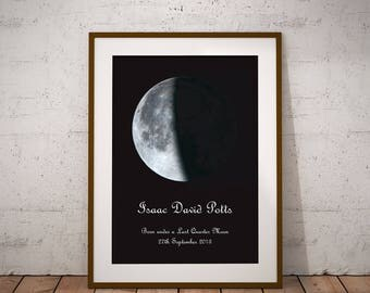 Moon Phase Personalised Print -  Special Date, Wedding, Anniversary, New Baby, Fathers Day, Mum, Dad, Moon, Astronomy, Giclee Wall Art