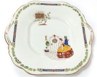 Vintage Hammersley & Co bone china deep serving plate, stoke on trent, couple, door, trees,  1912-39