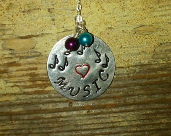 Love Music .925 Sterling Silver Hand Stamped Necklace