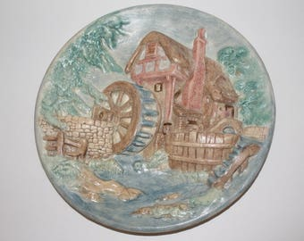 Vintage Chalkware Plate Cottage Mill, Vintage Wall Hanging
