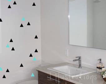 Wall decals TRIANGLES 2 inches-forms REPOSITIONABLE sticker vinyl quality-choice colors CUSTOM-Deco wall-removable-wall
