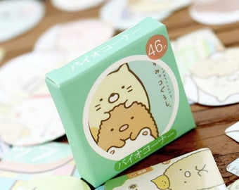 Sumikko Gurashi cute kawaii cartoon animal creatures in the corner box of stickers bear cat penguin cutlet