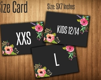 Size Sign Cards,Sizing Cards, Size Tags, Clothing Size, Instant Download, Digital Files, 7X5