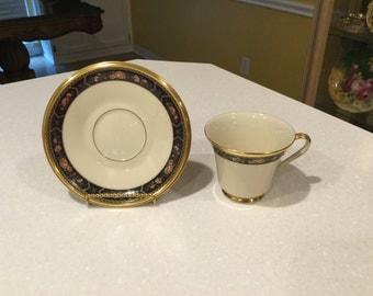 Lenox Royal Peony Tea or Coffee Cups and Saucers Floral Blue Band( 13 available)