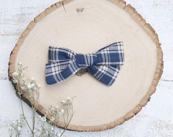 Navy + Tan Plaid Bow - School Girl Bows - Baby Bow - Toddler Clip - Baby Headband - Handmade Bow- Pigtail Set