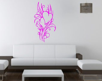 Flowers and Love Hearts wall vinyl or sticker