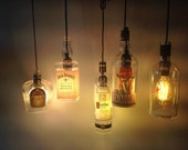 New, Upcycled alcohol pendant lights, Jack Daniels, Bombay, Wild Turkey, Jameson, Grey Goose, lots of wine too!