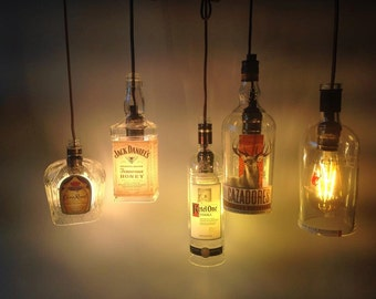 New, Upcycled alcohol pendant lights, Jack Daniels, Bombay, Wild Turkey, Jameson, Grey Goose, lots of wine too!