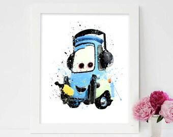 Disney Cars Guido Disney Cars Print Watercolor Printable Disney Cars Decor Sheriff Car Disney Poster Disney Cars Printable Instant Download