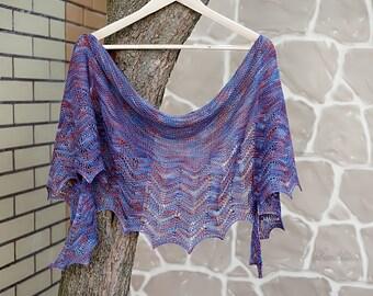 "Knitted blue and burgundy shawl ""Waves"" - oversized lace shawl - extra fine merino wool shawl"