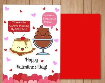 Cute, Funny Valentine's Day Card-Flan and Chocolate Pudding
