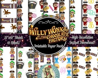 Willy Wonka and the Chocolate Factory Digital Paper, Golden Ticket, Willy Wonka, Willy Wonka Party, Instant Download, Scrapbook Paper