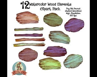 Watercolor Clipart, Wood Clipart, Digital Clipart, Wood Clip Art, Wooden Signs, Wood Signs, Clipart, Clip Art, Commercial Use, Instant Downl