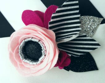 Striped Rose // Black & white  striped felt flower headband // stripe // felt flower crown // floral headband for baby, toddler, girl