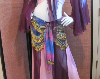 BELLY DANCE COSTUME, 3 Piece Gypsy Dance Costume, Full Skirt with Gypsy Top and Coin Belt, Gypsy Belly Dance Costume..Made in India