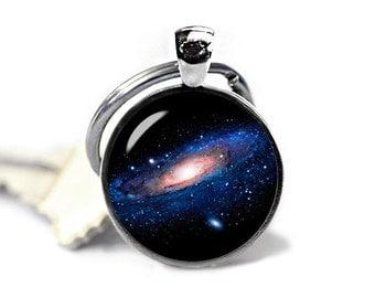 Andromeda Keychain Nebula Keyfob Andromeda Keyring Space keychain