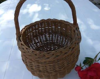 Vintage French child's shopping basket. Wicker basket storage.