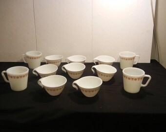 Pyrex AND Corelle Butterfly Gold Cups -- Pyrex Mugs-- MATCHING SET  Corningware Pyrex