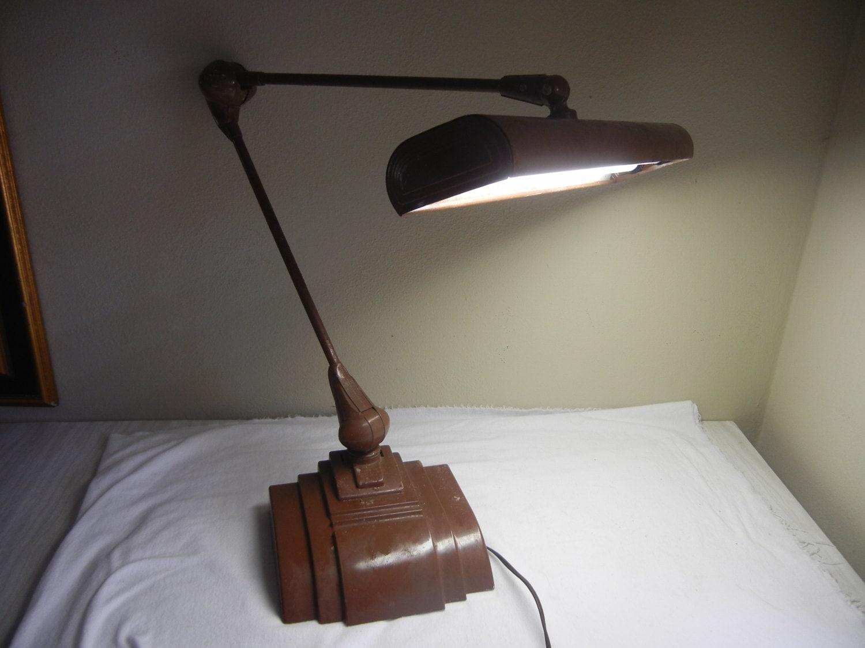 Vintage 40s cast iron metal deco industrial gooseneck desk lamp light - Like This Item