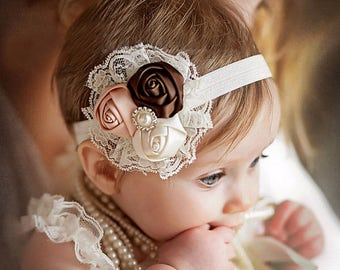 Pearl Rosette and Lace Headband
