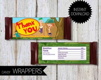 Phineas and Ferb Birthday Party PRINTABLE Candy Wrappers- Instant Download | Disney Channel | Agent P| Chocolate Wrapper