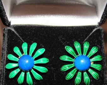 Vintage 1950s/60s Enamel Flower Earrings - converted from clip-on to pierced