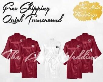 BURGUNDY SATIN ROBE - Silk Robe - Bridesmaids Gifts - Getting Ready Robe - Wedding Robe - Bride Robe - Bridal Party Gift - Monogrammed Robe