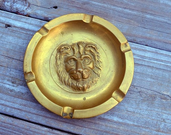 Vintage Cast Brass Lion Smoking Tobacciana Ashtray