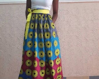 Mini Gathered Colourful Skirt with Belt