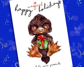 Niffler Happy Holidays card 14,8 x 21 cm 300 dpi - Fantastic Beasts and where to find them