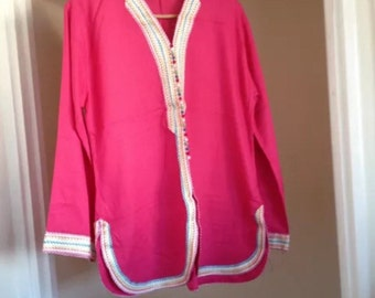 Moroccan Nehru boho hippy Pink Tunic Top - Rose Bud Design - Festival - one size