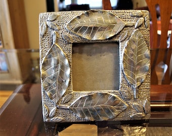 Pewter Picture Frame – solid and heavy- with Leaf and Mesh Pattern