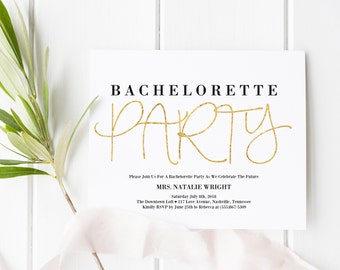 Bachelorette Party Invitation, Bachelorette Party Printable, Black and Gold Invitations, Bridal, Bride-to-Be, Bachelorette Party