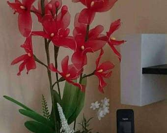 Handmade red Nylon stocking arrangement orchid for hoje decor