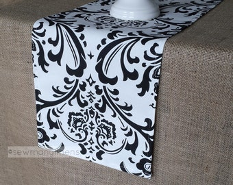 Black and White Table Runner Floral Damask Decor Table Centerpiece Linens Dining Room Kitchen Table Decoration