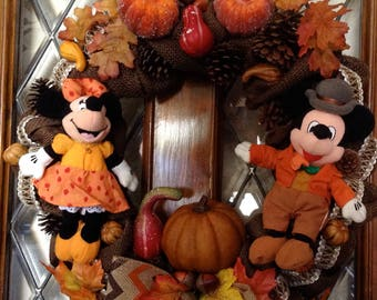 Disney Mickey and Minnie Fall Thanksgiving Burlap Wreath
