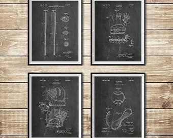 Baseball Art Set, Patent Print Group, Baseball Bat Art, Baseball Art Poster, Baseball Ball Art,Baseball Printable,Baseball, INSTANT DOWNLOAD