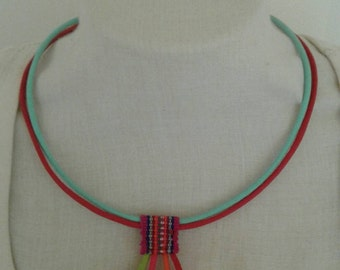 Hmong fabric necklace full color