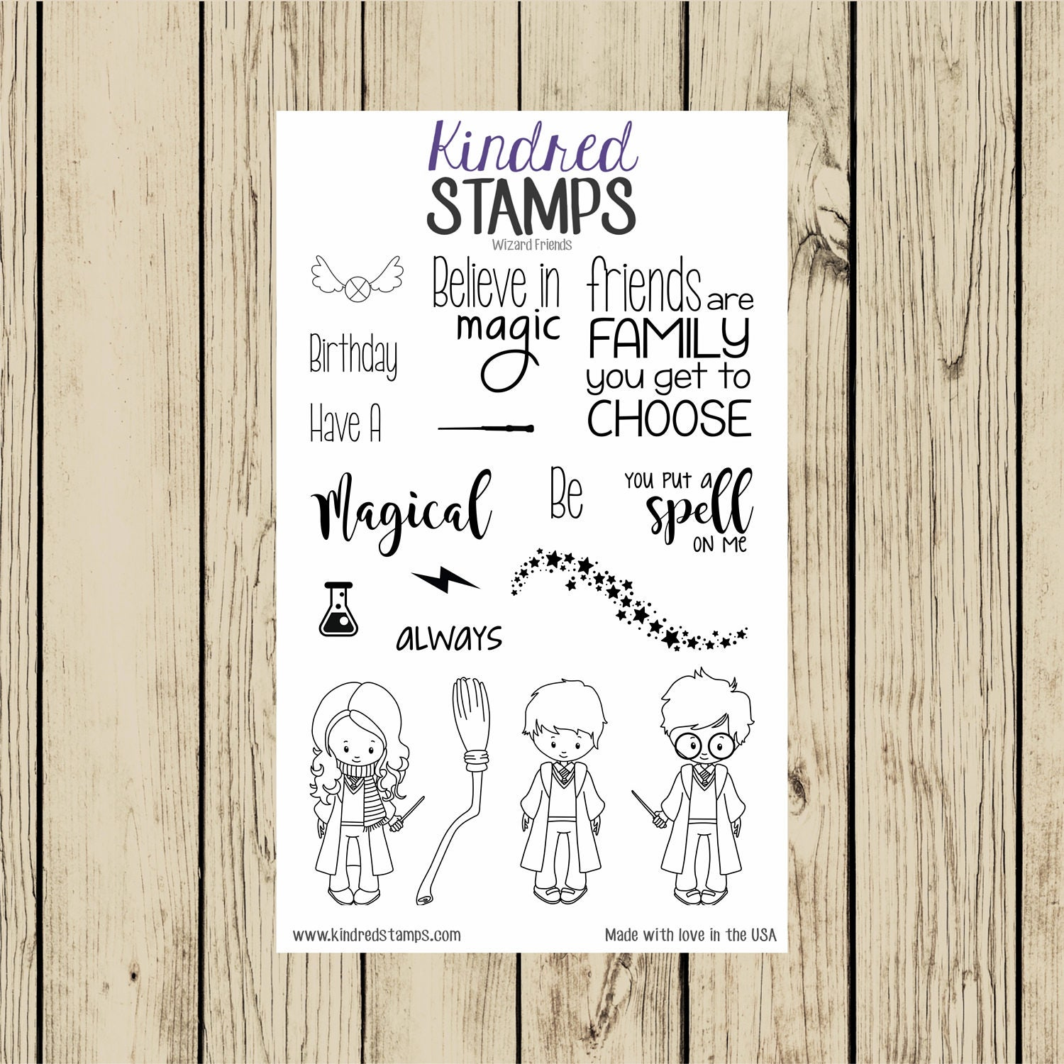 Wizard Friends Rubber Stamp Set Harry Potter Stamps 4x6