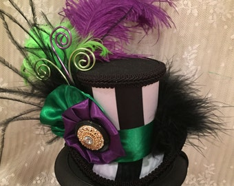 Mardi Gras Hat, Mini top hat, Masquerade hat, Carnival hat, Alice in Wonderland, Mad Hatter Hat, Tea Party, black and white striped hat