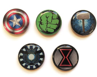The Avengers magnets or The Avengers pins, Superhero magnets, Superhero pins, Captain America, Hulk, Thor, Iron Man, Black Widow
