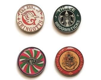 Harry Potter magnets or Harry Potter pins, Gringotts, Honeydukes, Three Broomsticks, Hogwarts Railways, refrigerator magnets, locker magnets
