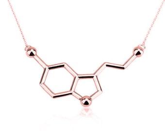 Serotonin Necklace,Sterling Silver,Serotonin,Happiness Necklace, Molecule Necklace,Chemistry Necklace,Science jewelry