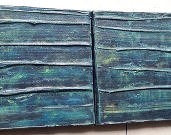 Acrylic painting canvas 2 parts set 40 x 20 blue turquoise structures abstract painting