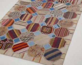 Turkish Patchwork Kilim ,Rug ,Carpet ,AnatolianPatchwork -wool rug-Handmade,Floral,160x230 cm=3,68 m2