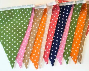 Fabric Bunting, Polka dot Fabric Bunting, Flaggen dekoration, Colourful Bunting, Party Bunting Flags, Flag Prob Decoration, Bunting Banner