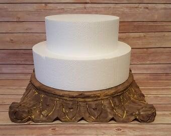 Natural Rustic Wood Cake Stand Pedestal